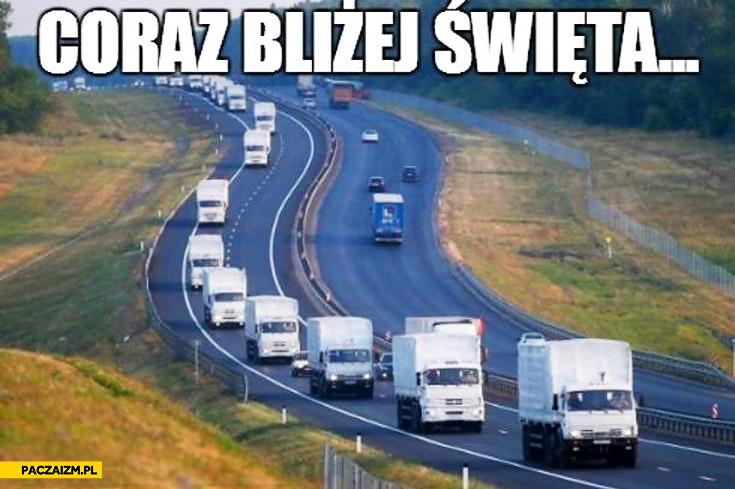 Coraz bliżej święta biały konwój ciężarówki Putina