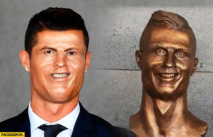Cristiano Ronaldo posąg rzeźba fail nieudana twarz porównanie photoshop przeróbka