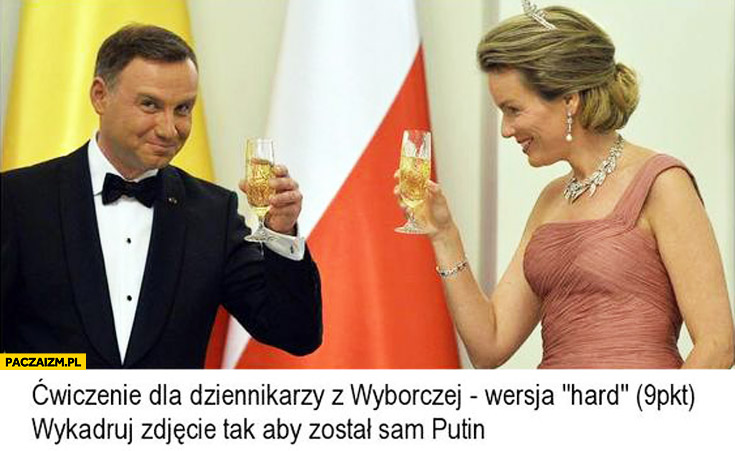 Ćwiczenie dla dziennikarzy wyborczej: wykadruj zdjęcie aby został sam Putin Duda