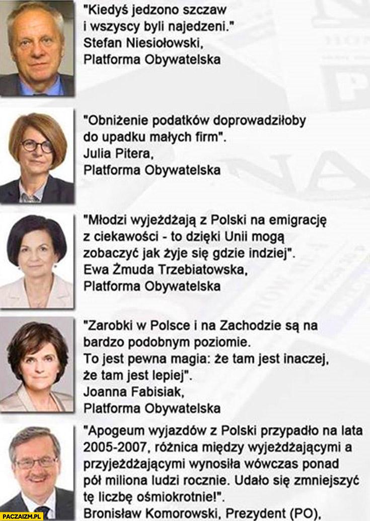Cytaty Platforma Obywatelska Niesiołowski Pitera Fabisiak Komorowski
