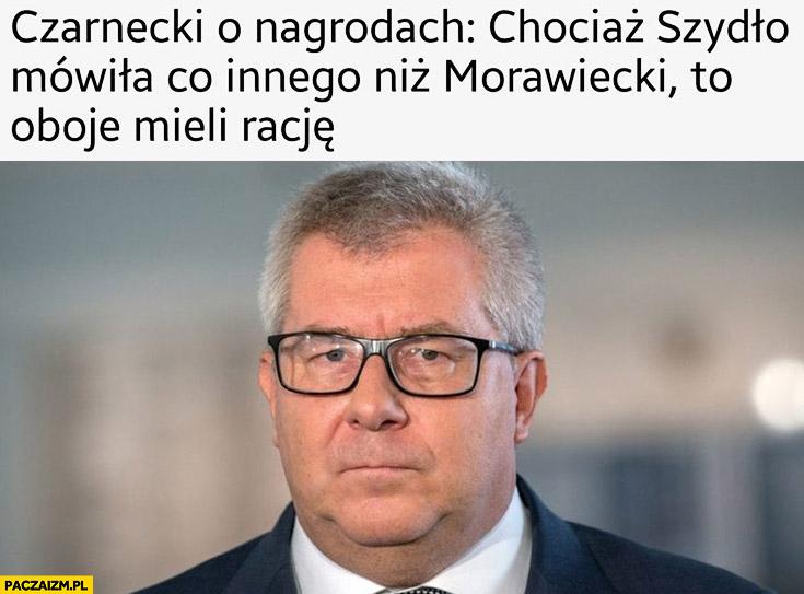 Czarnecki o nagrodach chociaż Szydło mówiła co innego niż Morawiecki to oboje mieli racje PiS Prawo i Sprawiedliwość