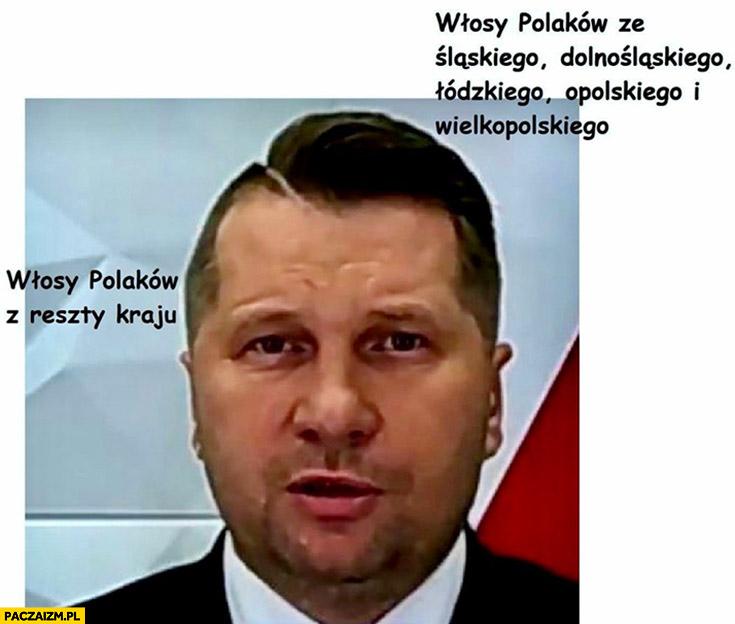 Czarnek fryzura włosy Polaków ze śląskiego, dolnośląskiego, łódzkiego, opolskiego i wielkopolskiego vs włosy Polaków z reszty kraju