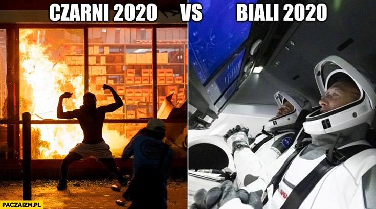 Czarni 2020 zamieszki w Minneapolis vs biali w 2020 kosmonauci Space x misja Falcon9