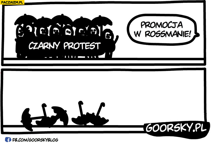 Czarny protest promocja w Rossmanie zostały same parasole Goorsky