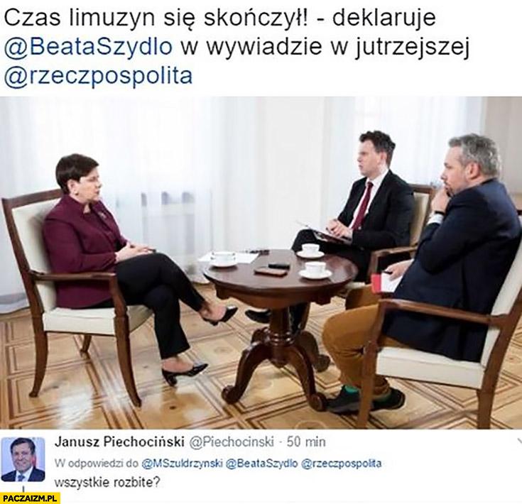 Czas limuzyn się skończył deklaruje Beata Szydło wszystkie rozbite Janusz Piechociński