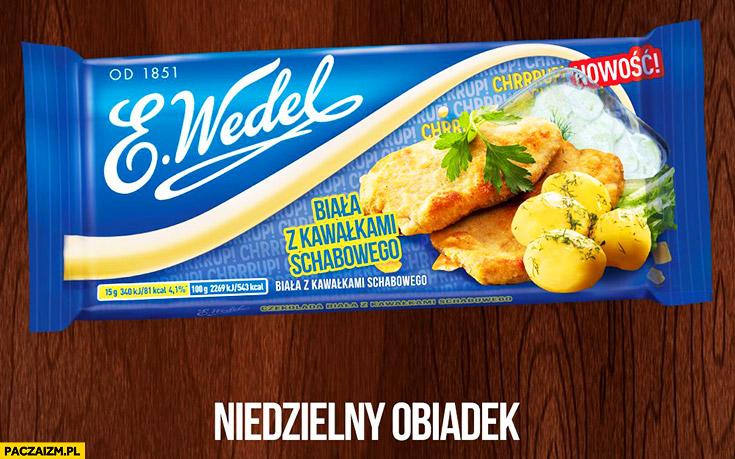 Czekolada biała z kawałkami schabowego E. Wedel niedzielny obiadek