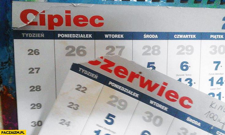 Czerwiec lipiec cipiec oderwana kartka kalendarza