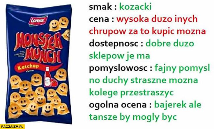 Czipsy chipsy Monster Munch smak kozacki, cena wysoka, pomysłowość fajna można kolegę przestraszyć, bajerek ale tańsze mogły być recenzje jedzenia