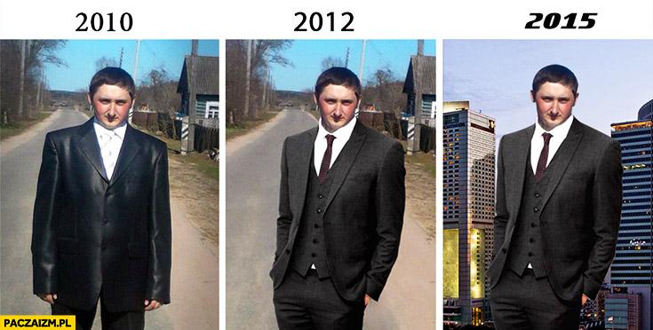 Człowiek pingwin w garniturze 2010 2012 2015 porównanie