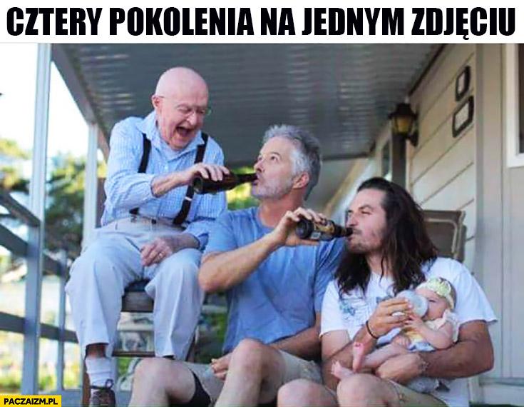 Cztery pokolenia na jednym zdjęciu faceci mężczyźni dają sobie pić