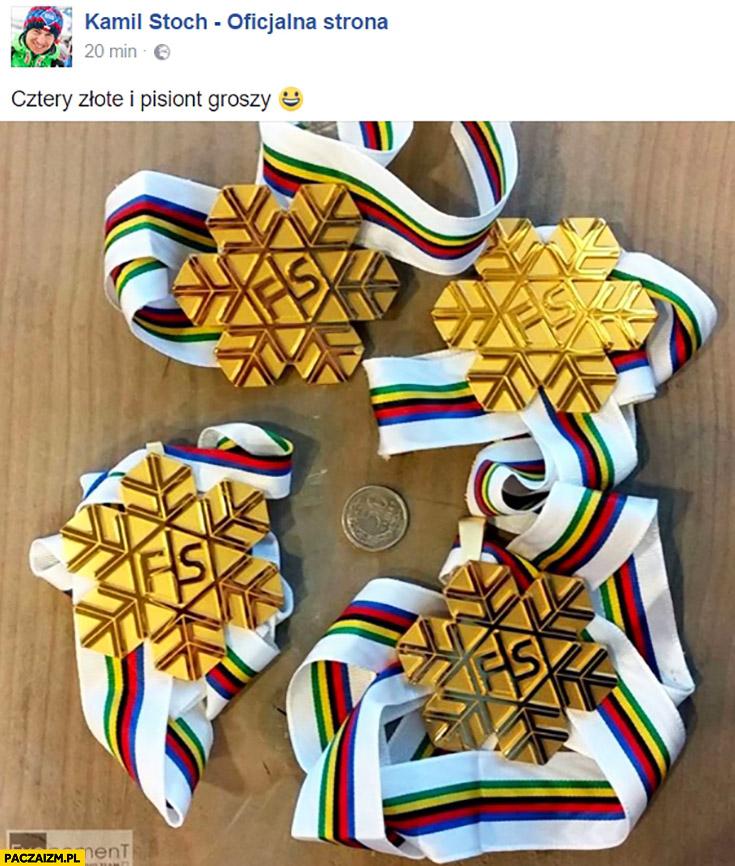 Cztery złote i pisiont groszy Kamil Stoch medale na facebooku