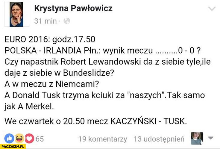 Czy napastnik Robert Lewandowski da z siebie tyle ile daje w Bundeslidze? Krystyna Pawłowicz na facebooku