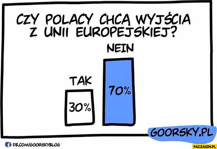 Czy Polacy chcą wyjścia z Unii Europejskiej? Tak nein sondaż ankieta Goorsky