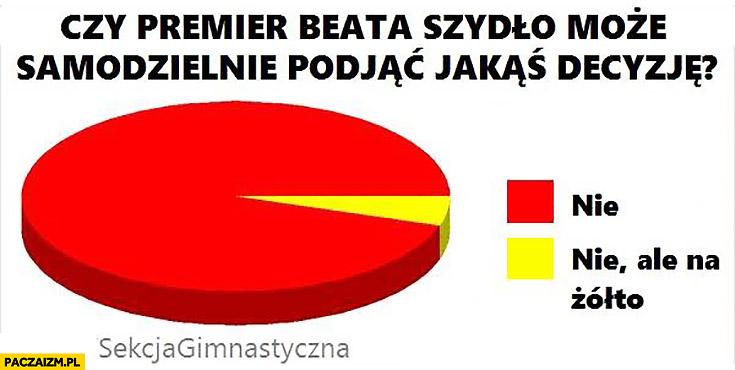 Czy premier Beata Szydło może samodzielnie podjąć jakąś decyzję wykres nie ale na żółto