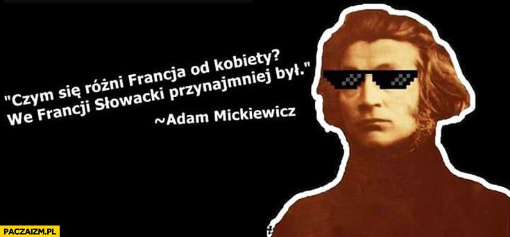Czym się różni Francja od kobiety? We Francji Słowacki przynajmniej był Adam Mickiewicz