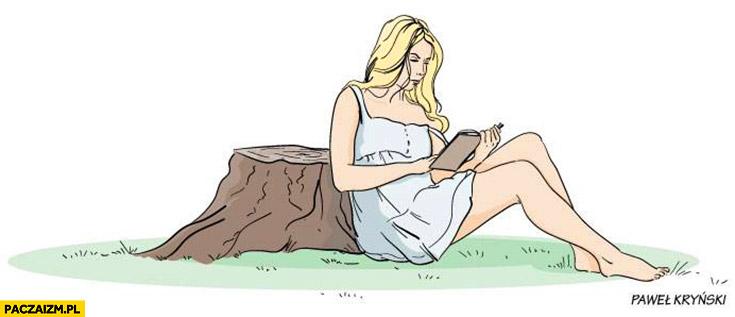 Czytanie pod drzewem po wycince drzew Kryński