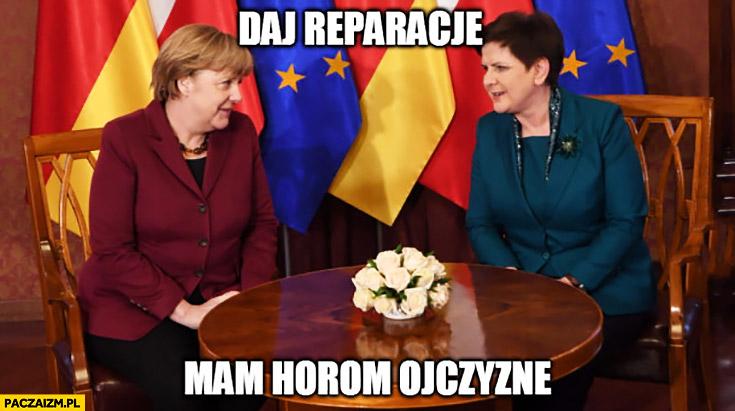 Daj reparacje mam horom ojczyznę Beata Szydło Angela Merkel
