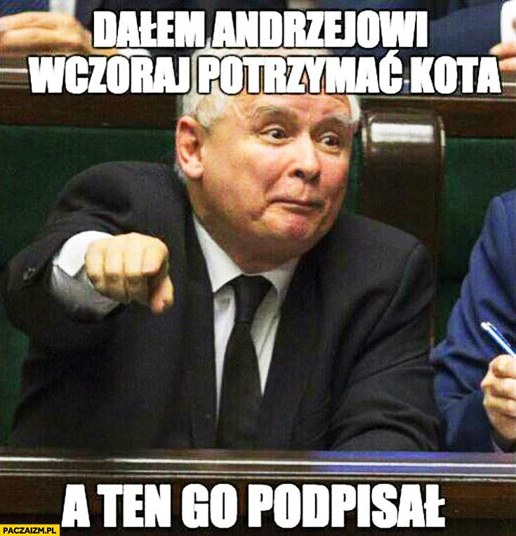 Dałem Andrzejowi wczoraj potrzymać kota a ten go podpisał Kaczyński Duda