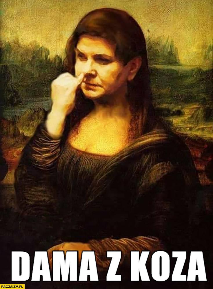 Dama z kozą Beata Szydło dłubie w nosie Mona Lisa przeróbka