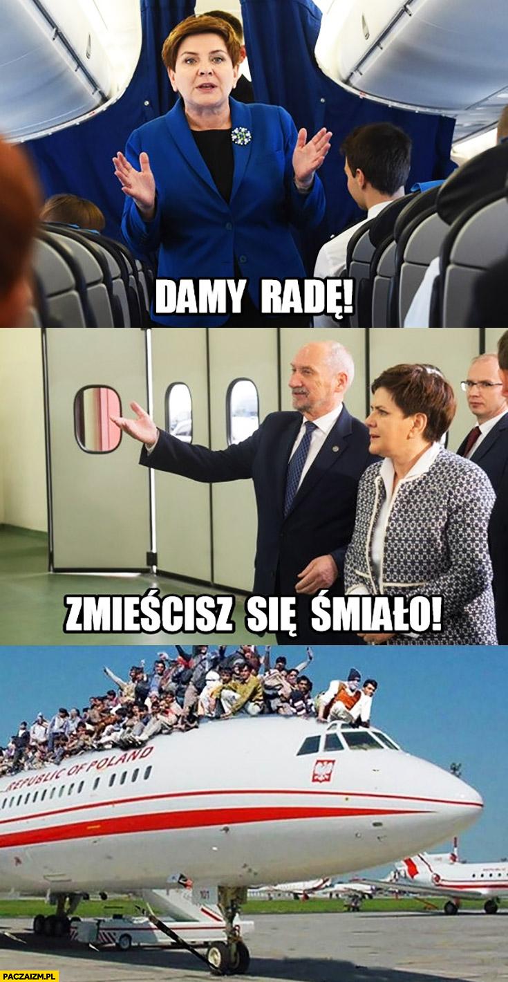 Damy rade, zmieścisz się śmiało Polacy rząd PiS wraca z delegacji samolotem Szydło Macierewicz