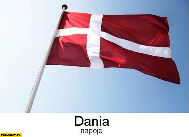 Dania napoje kraj flaga