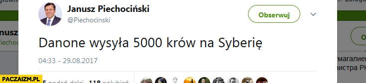 Danone wysyła 5000 krów na Syberię Janusz Piechociński na twitterze
