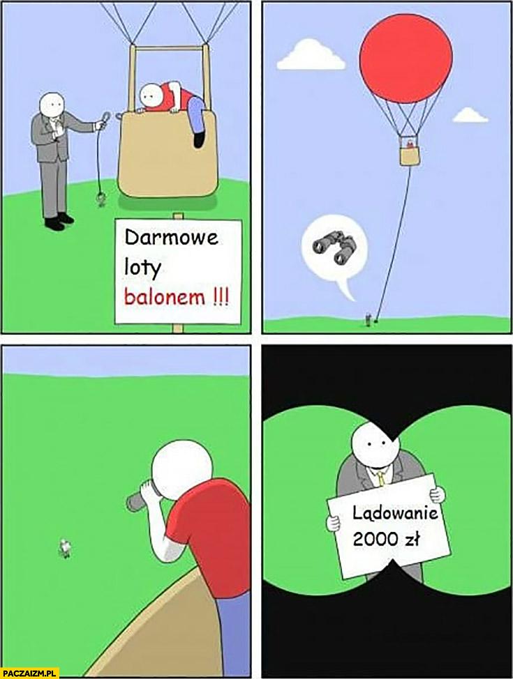 Darmowe loty balonem lornetka lądowanie 2000zł komiks