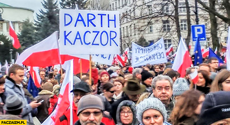 Darth Kaczor transparent napis demonstracja KOD
