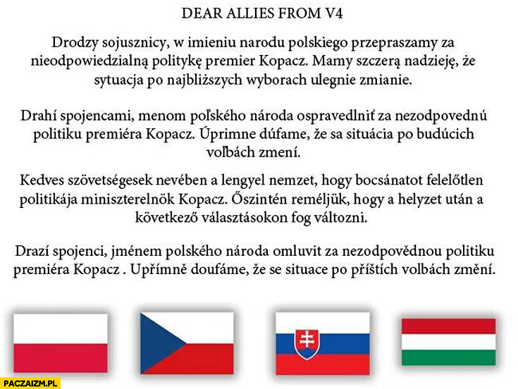 Dear allies from V4 drodzy sojusznicy przepraszamy za nieodpowiedzialną politykę premier Kopacz Czechy Słowacja Węgry oświadczenie w sprawie głosowania imigranci