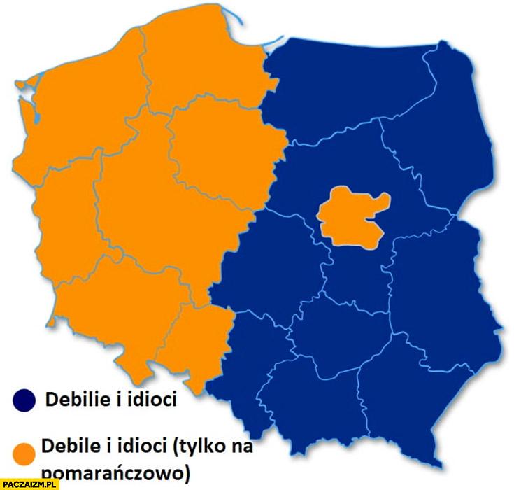 Debile i idioci tylko na pomarańczowo mapa Polski wyniki wyborów do PE Parlamentu Europejskiego Polska podzielona