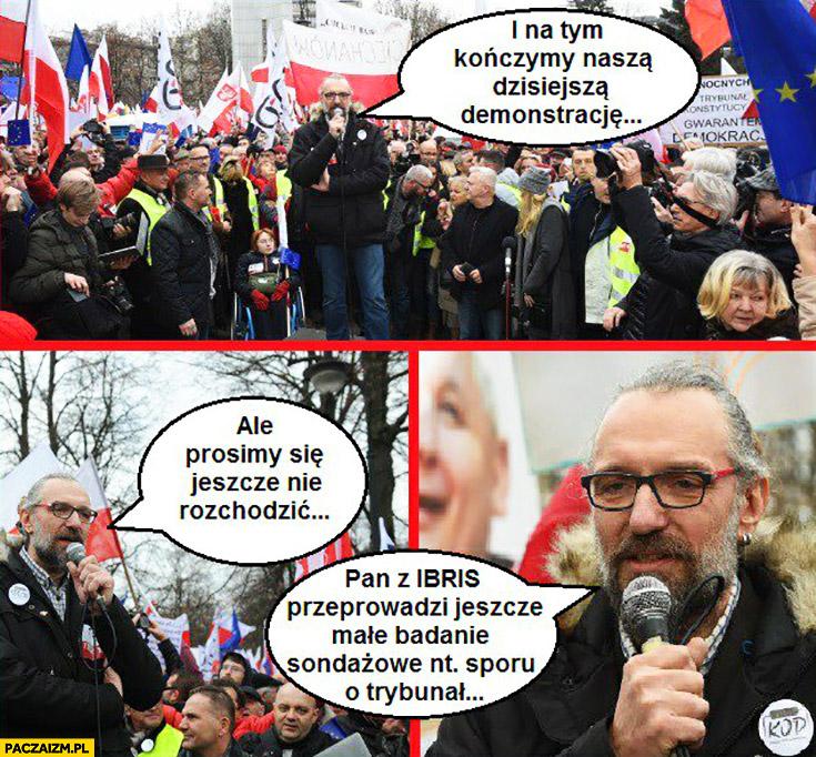 Demonstracja KOD na tym kończymy demonstrację, proszę się nie rozchodzić pan z IBRIS przeprowadzi sondaż na temat sporu o Trybunał Konstytucyjny Mateusz Kijowski