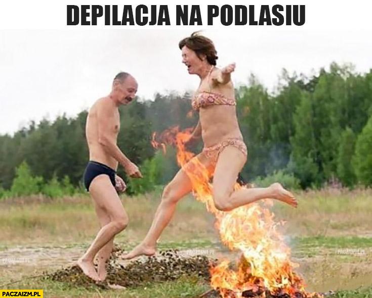 Depilacja na Podlasiu skaczą przez ognisko kobieta