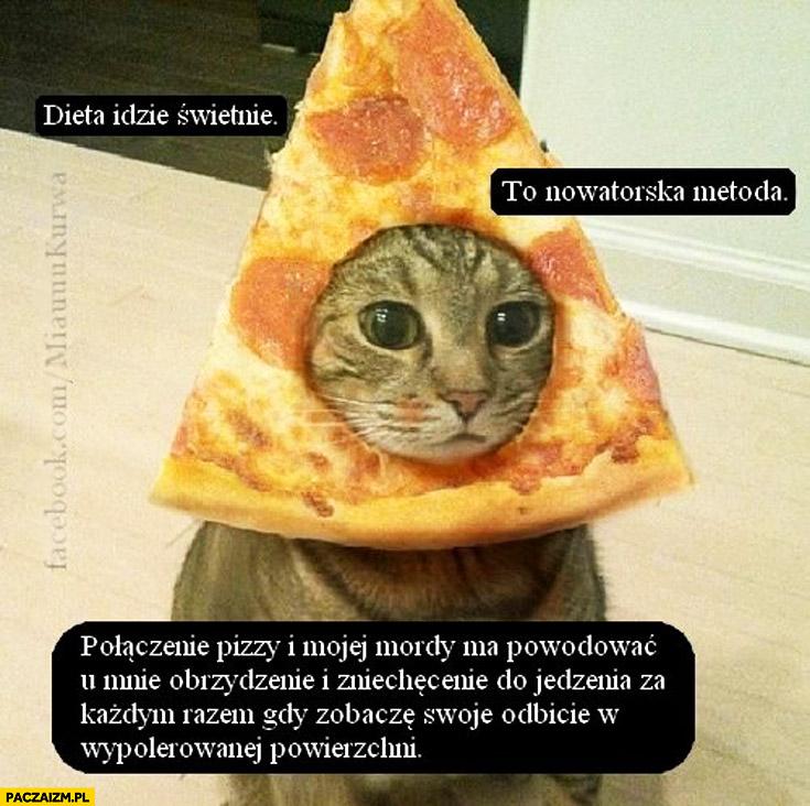Dieta idzie świetnie to nowatorska metoda połączenie pizzy i mojej mordy kot