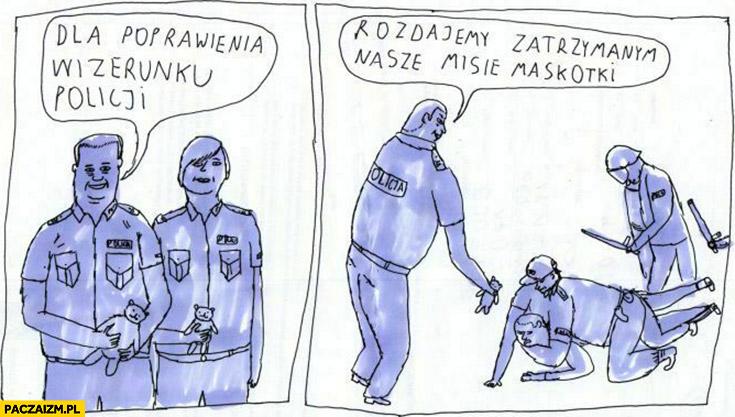 Dla poprawienia wizerunku policji rozdajemy zatrzymanym nasze maskotki Janek Koza