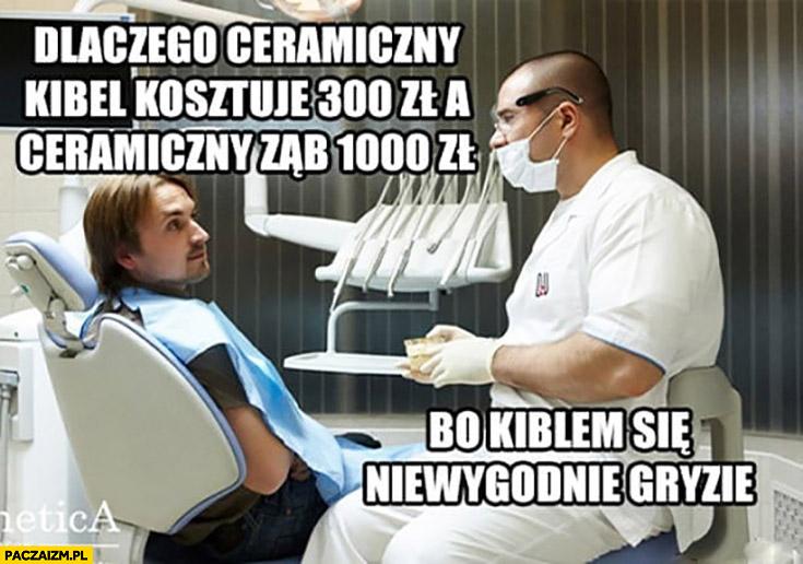 Dlaczego ceramiczny kibel kosztuje 300 zł a ceramiczny ząb 1000 zł? Bo kiblem się niewygodnie gryzie dentysta