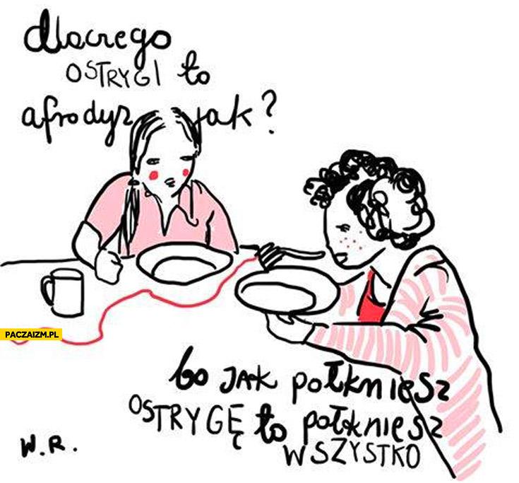 Dlaczego ostrygi to afrodyzjak? Bo jak połkniesz ostrygę to połkniesz wszystko