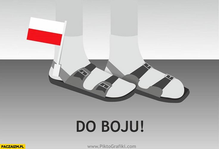 Do boju flaga Polski przy sandałach białe skarpetki