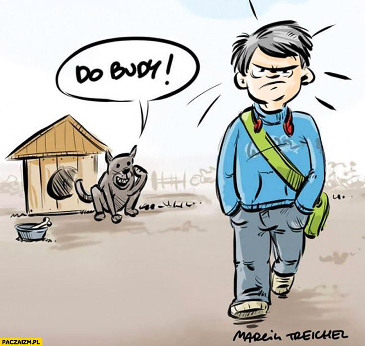 Do budy pies woła do dzieciaka idącego do szkoły