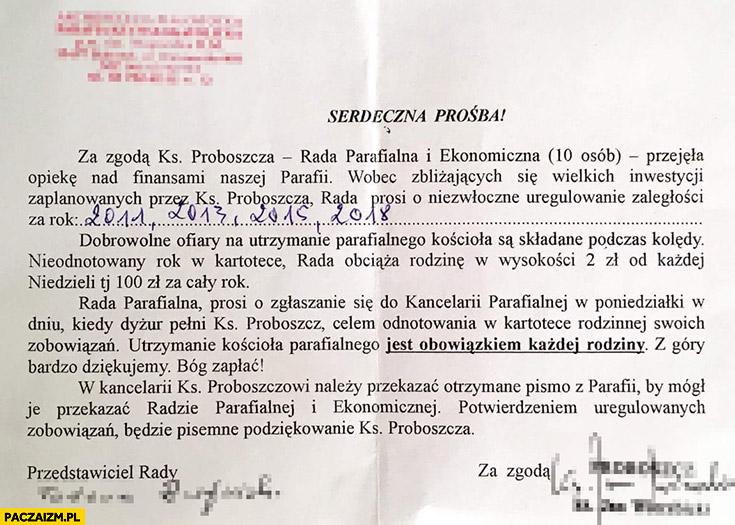 Dobrowolne ofiary na kościół są obowiązkowe pismo parafialne
