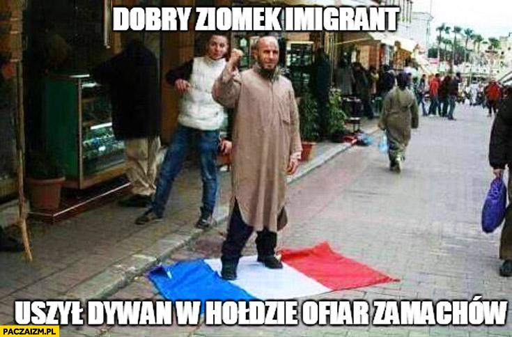 Dobry ziomek imigrant uszył dywan w hołdzie ofiar zamachów depcze flagę Francji