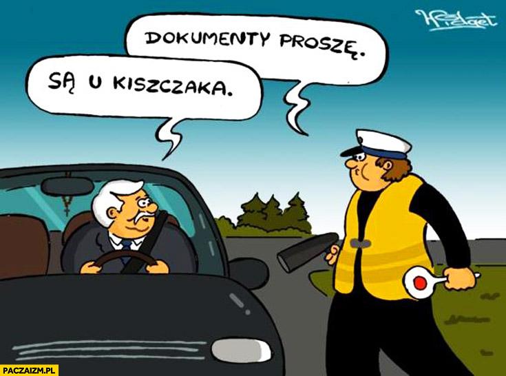 Dokumenty proszę. Są u Kiszczaka Wałęsa Bolek kontrola policyjna