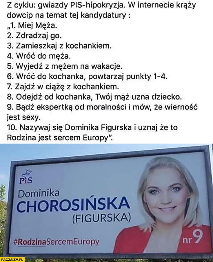 Dominika Chorosińska Figurska kandydatka PiS w wyborach zdrada męża historia dowcip