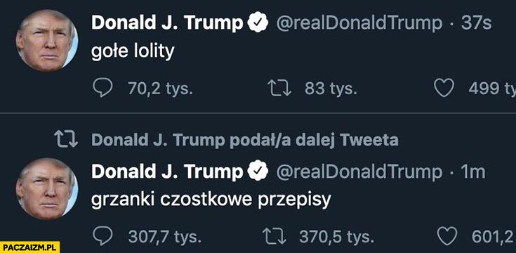 Donald Trump wpisuje na twitterze hasła do wyszukiwarki przeróbka