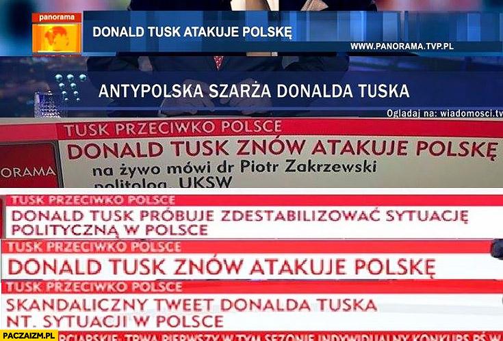 Donald Tusk atakuje Polskę próbuje destabilizować sytuacje polityczna polske paski tvp info wiadomosci