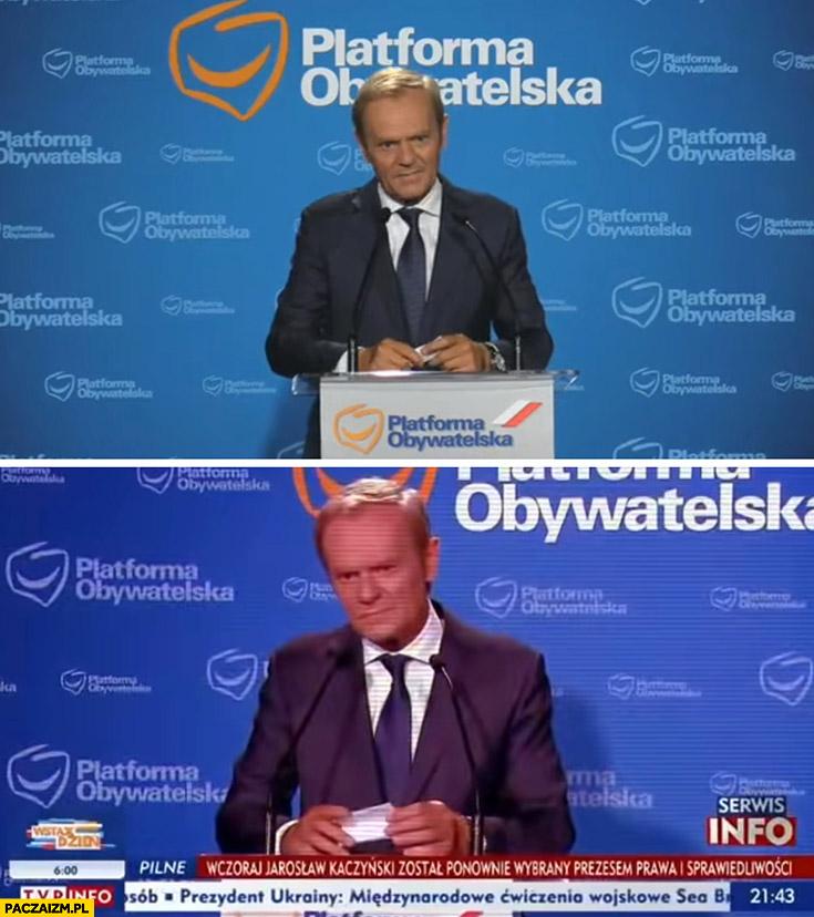Donald Tusk na konferencji prasowej vs w TVP info czerwona twarz morda rogi