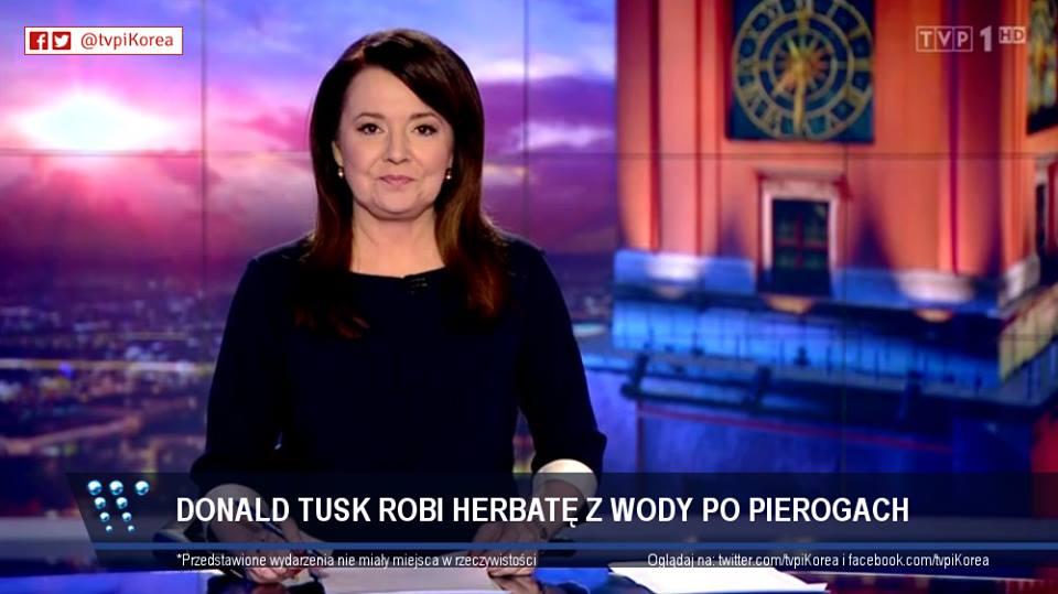 Donald Tusk robi herbatę z wody po pierogach pasek Wiadomości TVP