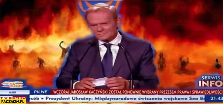 Donald Tusk w TVP info diabeł ogień piekło przeróbka