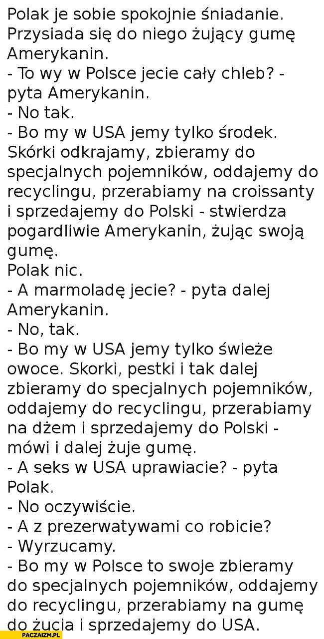 Dowcip Polak rozmawia z Amerykaninem żującym gumę do żucia