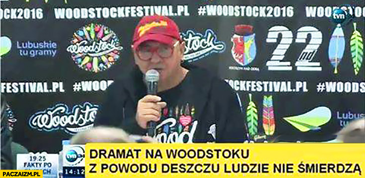 Dramat na Woodstocku: z powodu deszczu ludzie nie śmierdzą Owsiak