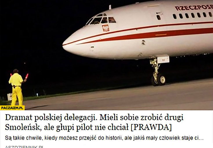 Dramat polskiej delegacji: mieli sobie zrobić drugi Smoleńsk ale głupi pilot nie chciał
